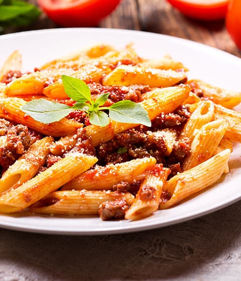 ground beef crumbles bolognese pasta