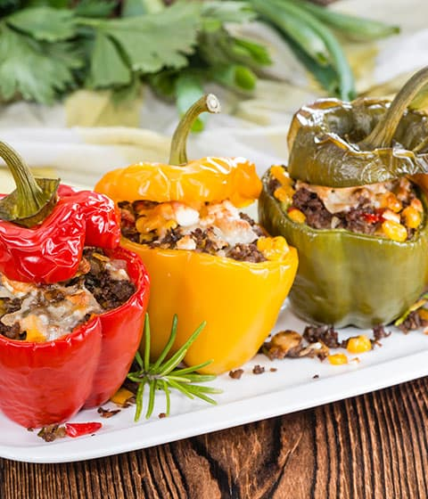 ground beef crumble stuffed peppers